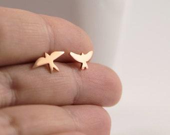 Mismatched Copper Bird Studs / Handmade Bird Earrings / Sterling Silver Posts / Copper Studs