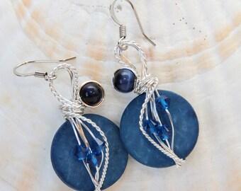 Gypsy Earrings, Wire Wrap, Wire Wrapped Earrings, Indigo Blue Earrings, Big Blue Earrings, Blue Dangle Earrings, Crystal Jewelry,Fun Fashion