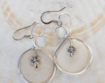 Hippie Earrings, White Earrings, Flower Earrings, Coconuts, Boho Chic Jewelry, Big White Earrings, White Dangle Earrings, Funky Fashion