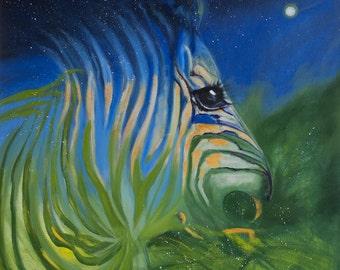 Original Oil painting Modern Art Night horse