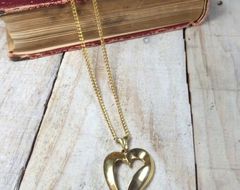 Gold Heart Necklace - Heart Pendant - Heart Jewelry - Costume Heart Necklace - Gold Heart Necklaces - Gold Costume Necklace