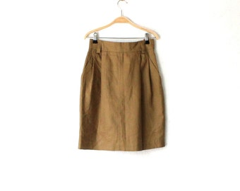 Khaki Brown Pure Linen  Pencil Skirt High Waisted Midi Skirt Small Size