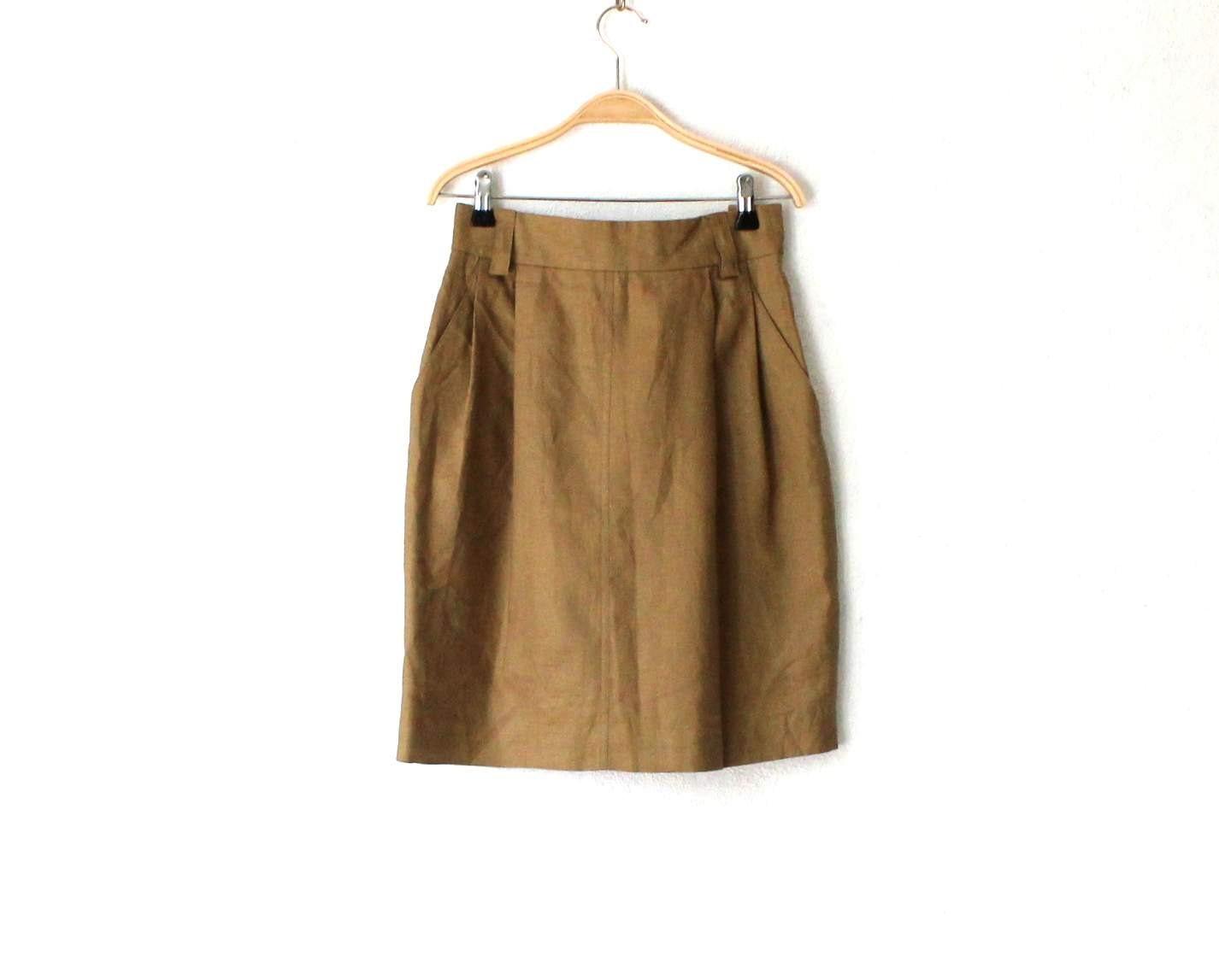 khaki brown linen pencil skirt high waisted midi skirt