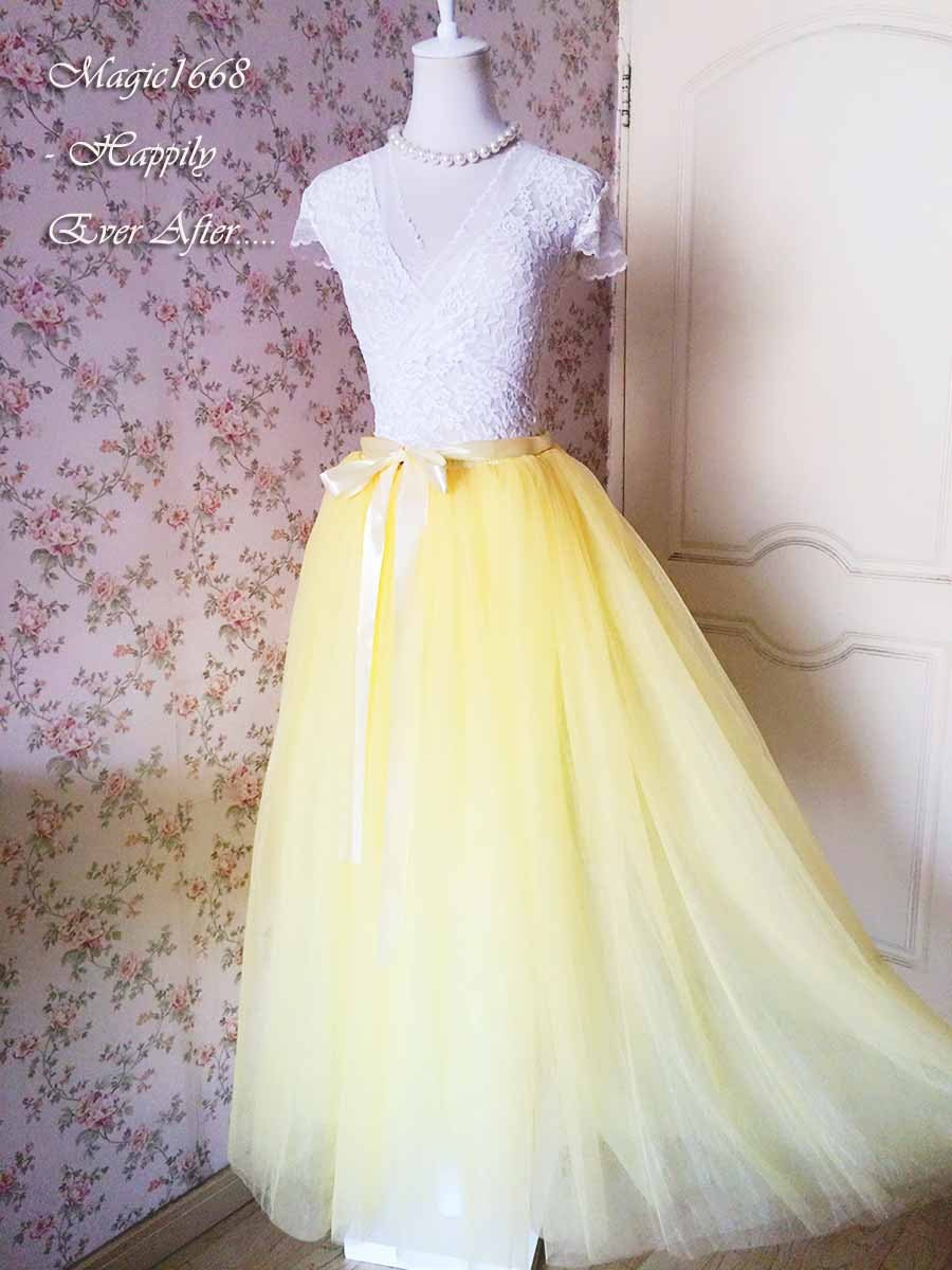 e77bf007a0 Custom Yellow Skirt Women Full Maxi Length TULLE SKIRT ROMANTIC Princess  Skirt Wedding Skirt Tutus Dress, Yellow Wedding Party- plus size