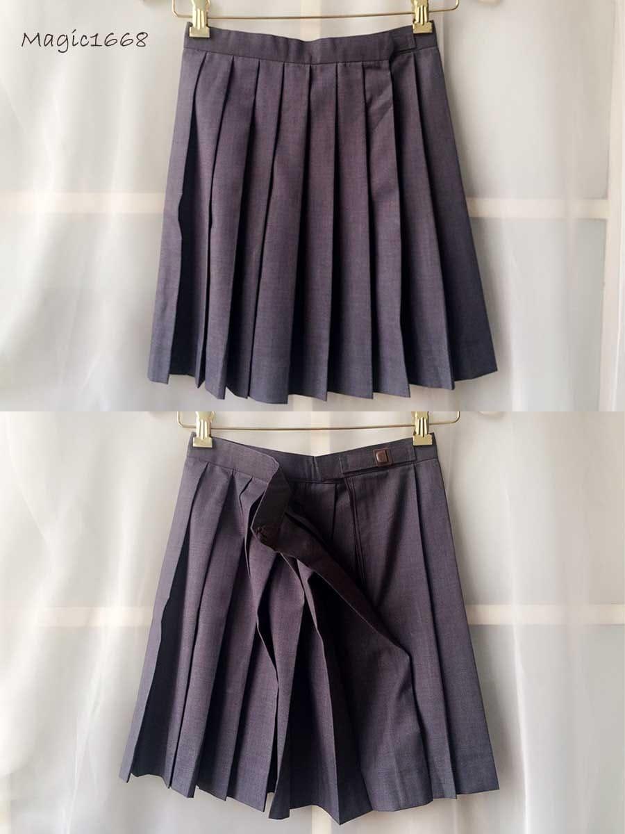 2040e5001 Short Grey Pleated School Skirt   Saddha