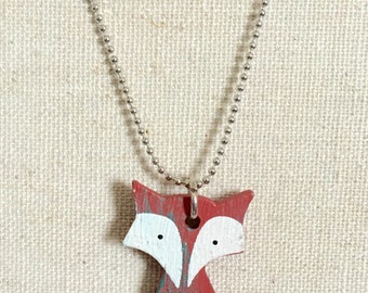 Fox necklace - fox jewelry - forest creatures - wooden fox - cute fox