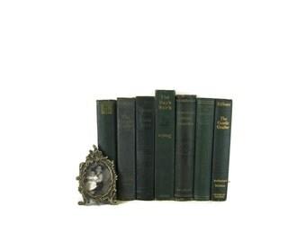 Green Antique Books , Antique Book Bundle , Green Decorative Books , Wedding Prop , Photo Prop , Green Vintage Books , Old Books