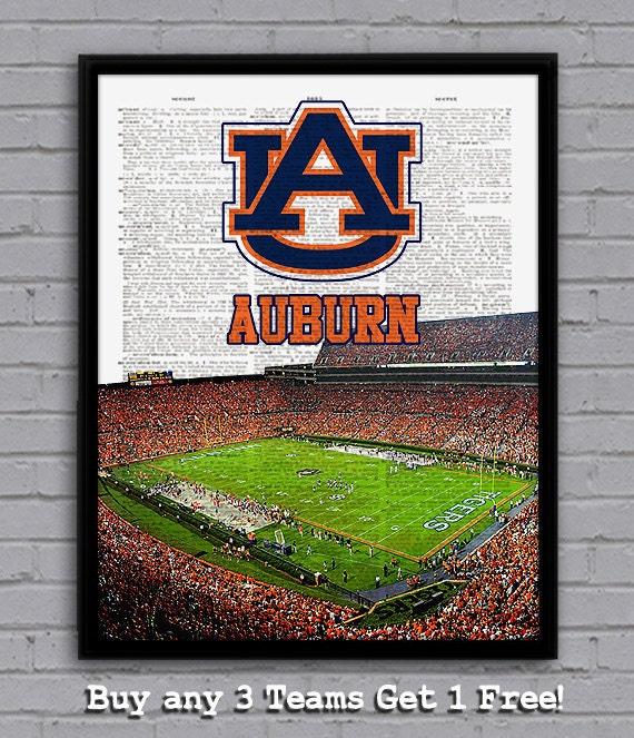 Auburn Tigers art print with stadium on dictionary page Nice