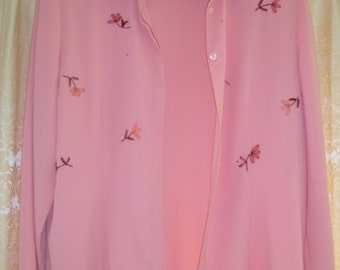 1960's pink blouse with applique flowers beads and pearls