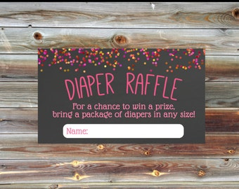 Confetti Ombre Diaper Raffle Card - Matching Diaper Raffle Card - Pink Ombre Confetti Baby Shower Diaper Raffle - Baby Shower Girl Invite