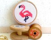 Diy Modern cross stitch kit- cross stitch pattern- funny flamingo cross stitch kit- Cross Stitch Kit- Hoop art- gifts for girls - cute craft
