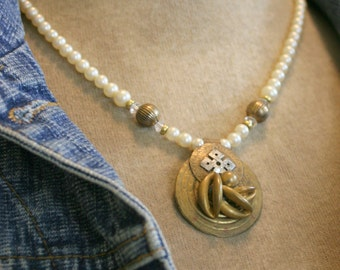 Pearls with Brass Assemblage Pendant Necklace