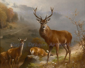 "Anton Schmitz ""Red Deer"" 1855  Reproduction Digital Print Bucks Wildlife Animal Print"