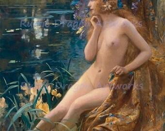 "Gaston Brussiere ""Water Nyph"" C1900 Reproduction Digital Print Greek Mythology Nature Deity Spirit of Nature"