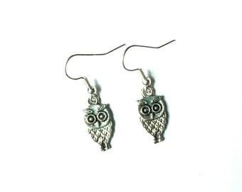 Owl Charm Earrings - Owl Earrings - Silver Owl Earrings - Dangle Earrings - Silver Jewelry