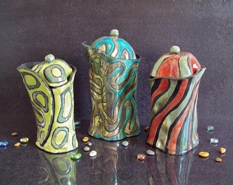 raku pottery jar with lid, ceramic canister set, kitchen jar, set of jars, raku lidded jar, colorful pottery, coffee jar, kitchen canisters