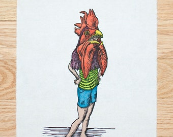 Kids In Masks, Woodcut, Rooster Girl, Limited Edition, Woodblock Print, Printmaking, Handmade