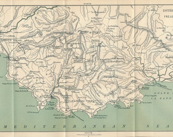 1905 Provence France, French Riviera, Esterel Mountains, St Raphael, Cannes France Antique Map