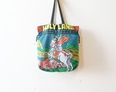 70s Vintage Beaded Bag / HOLY LAND Drawstring