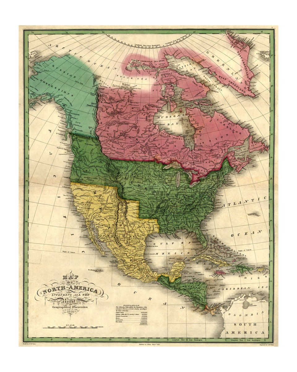 Map Of North America Old Maps And Prints Vintage Art - Historic us maps
