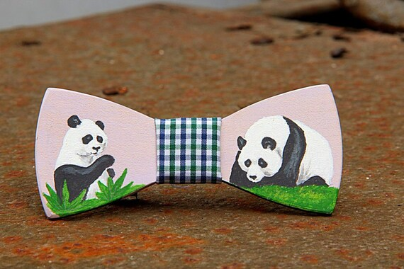 panda wooden bow tie painted handicraft by