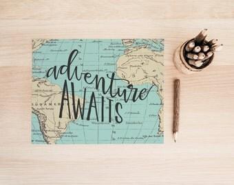 "PRINTABLE Art ""Adventure Awaits"" Typography Art Print Typography Poster Vintage Map Art Print World Map Art Print Vintage World Map"