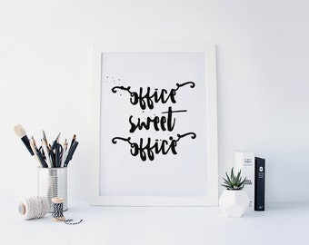 "PRINTABLE Art ""Office Sweet Office"" Typography Art Print Typography Poster Instant Download Modern Decor Office Decor Office Art Print"