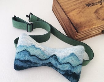 Needle felted unique artisan bow tie, packaged in wooden box.Gift for adventurer and dreamer.Free shipping.--20150710 Five Hundred Miles