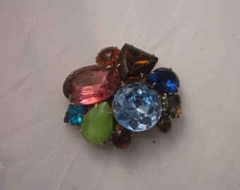 Discounted!!!   Vintage Art Glass Brooch -  Schiaparelli Style  DISCOUNTED!!!!