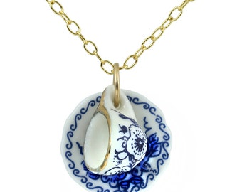 Porcelain Cup and Saucer Necklace, Miniature Teacup & Saucer Charm, Blue and White Floral Design, 14K Gold Filled Chain Y986