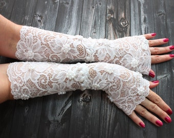 Long Lace Gloves, White Lace Wedding Cuff, White Fingerless Lace gloves, Shiny Beads Wristlet Cuff Glovelet Cuff, Autumn Winter wedding