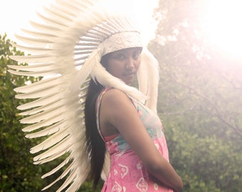 ON SALE White feather headdress, medium length  indian inspired war bonnet. indian style headdress, boho