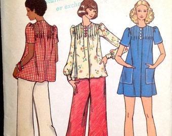 Butterick 3067 - 1970s Mini Dress, Blouse and Wide Leg Pants - Size 12