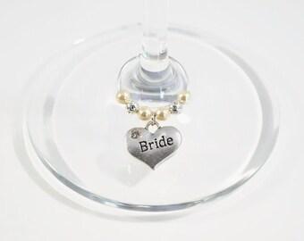 Bride Wine Glass Charm - Swarovski Crystal - Hen Night Wine Glass Charm - Wedding Wine Glass Charm - Bridal Shower Gift - Hen Party Gift