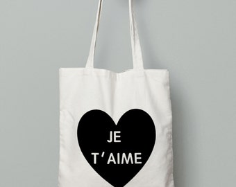 Je t'aime Bag- Canvas Tote Bag - Bridesmaid Tote  - Bridesmaid Gift - Wedding Bag - Love Heart Bag - Tote Bag - Canvas Tote -Valentines Gift