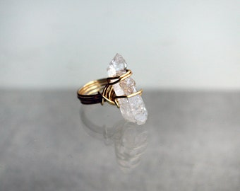 Clear Quartz Crystal Handmade Wirewrapped Ring in Silver-Gold Plated Wire