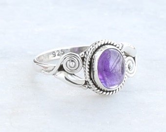 Amethyst Stone Ring,  925 Solid Sterling Silver Ring, Amethyst Silver Ring, us size 4 5 6 7 8 9 10 uk M N O P Q R S T U V W X