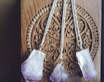 """Amethyst Rock Crystal on Chain Necklace 20"""" / 18"""" / 16"""""""