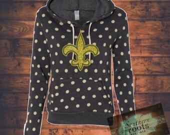 Polka dot fleur de lis sweatshirt New Orleans Saints inspired- glitter!