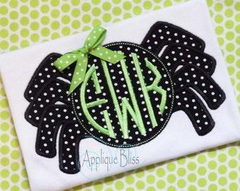 Monogram Spider Digital Applique Design - Halloween - Halloween Applique Design - Halloween Embroidery Design - Circle Monogram - Download