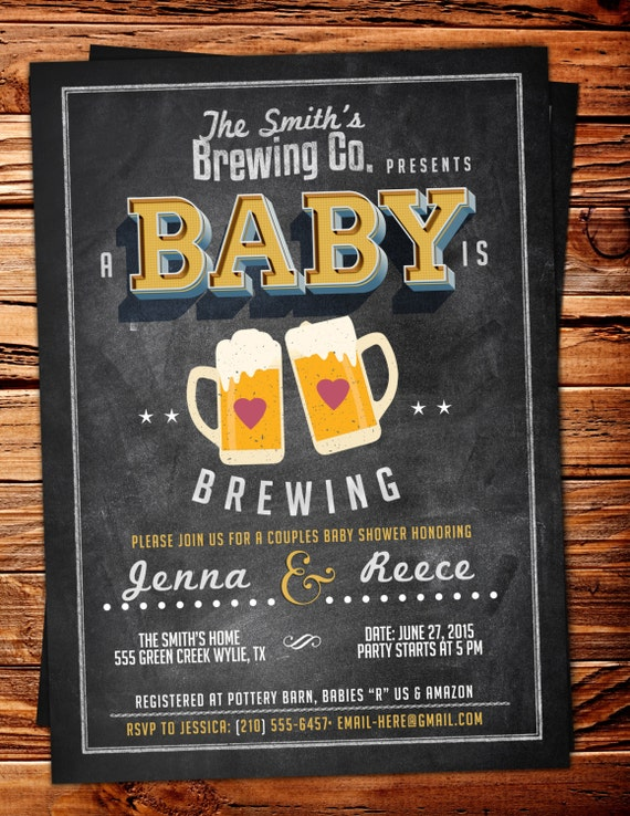 Baby is brewing, Coed baby shower invitation- Beer baby shower invitation- couples baby shower - girl baby shower - boy baby shower, BBQ