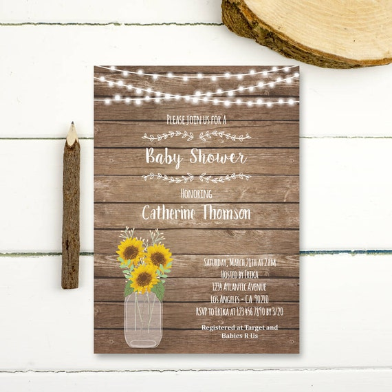 sunflower baby shower invitation printable rustic wood sunflower baby