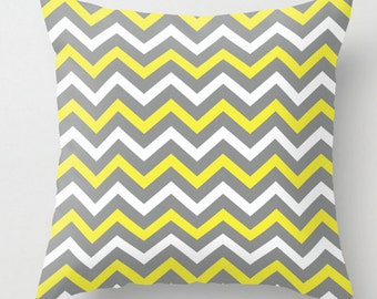 Chevron Cushion, Grey Yellow White, Decorative Pillow, Throw Pillow Cover, Zig Zag Toss Pillow, Cushion and Insert, 16x16 18x18 20x20