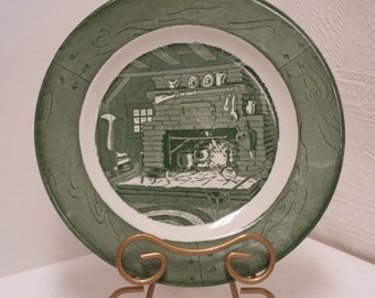 Vintage Green Colonial Homestead by Royal Dinner Plate (4 Available); USA; 1950s