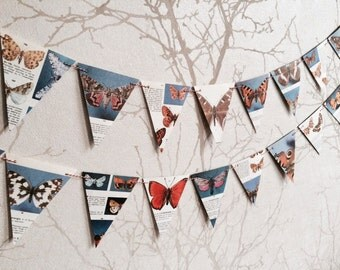 SALE: Vintage paper butterfly and moth bunting | lepidoptera | handmade