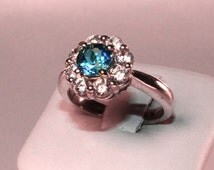 Art deco- Cinderella Ring, London Blue Natural Stone Sterling Silver Ring Wedding Engagement Anniversary and Promise Solitaire Ring