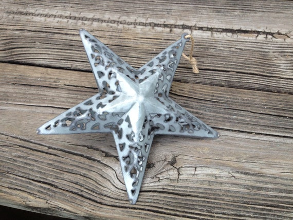 Ornate d galvanized hanging tin star christmas tree ornament