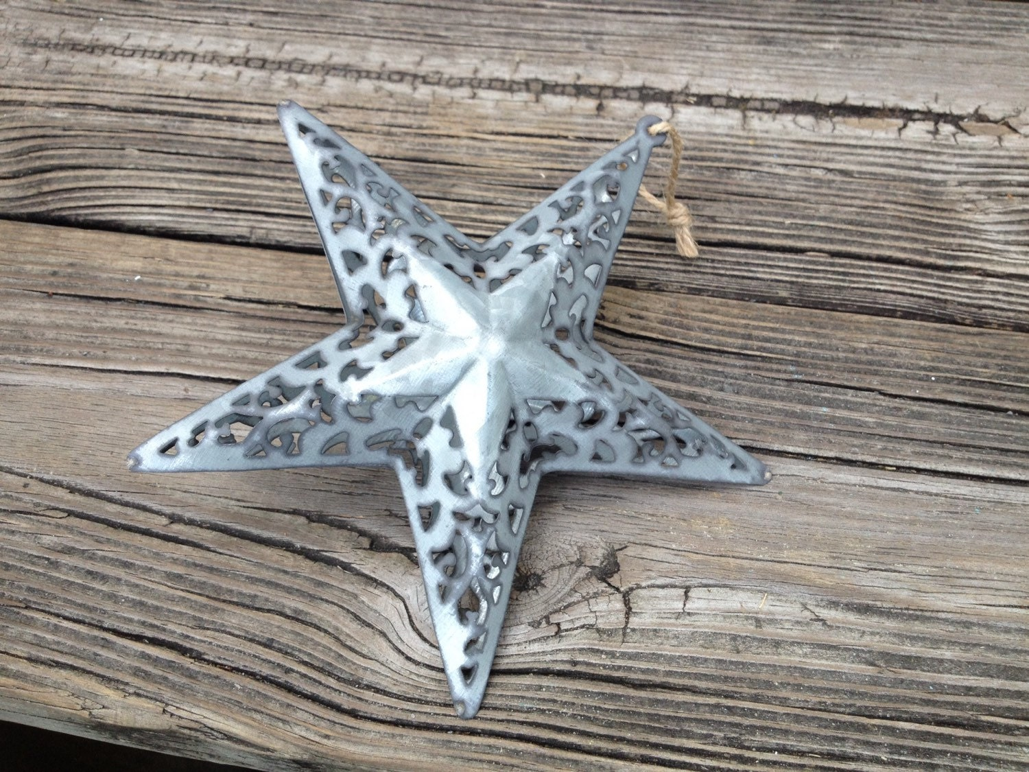 Ornate 3D Galvanized Hanging Tin Star Christmas Tree Ornament