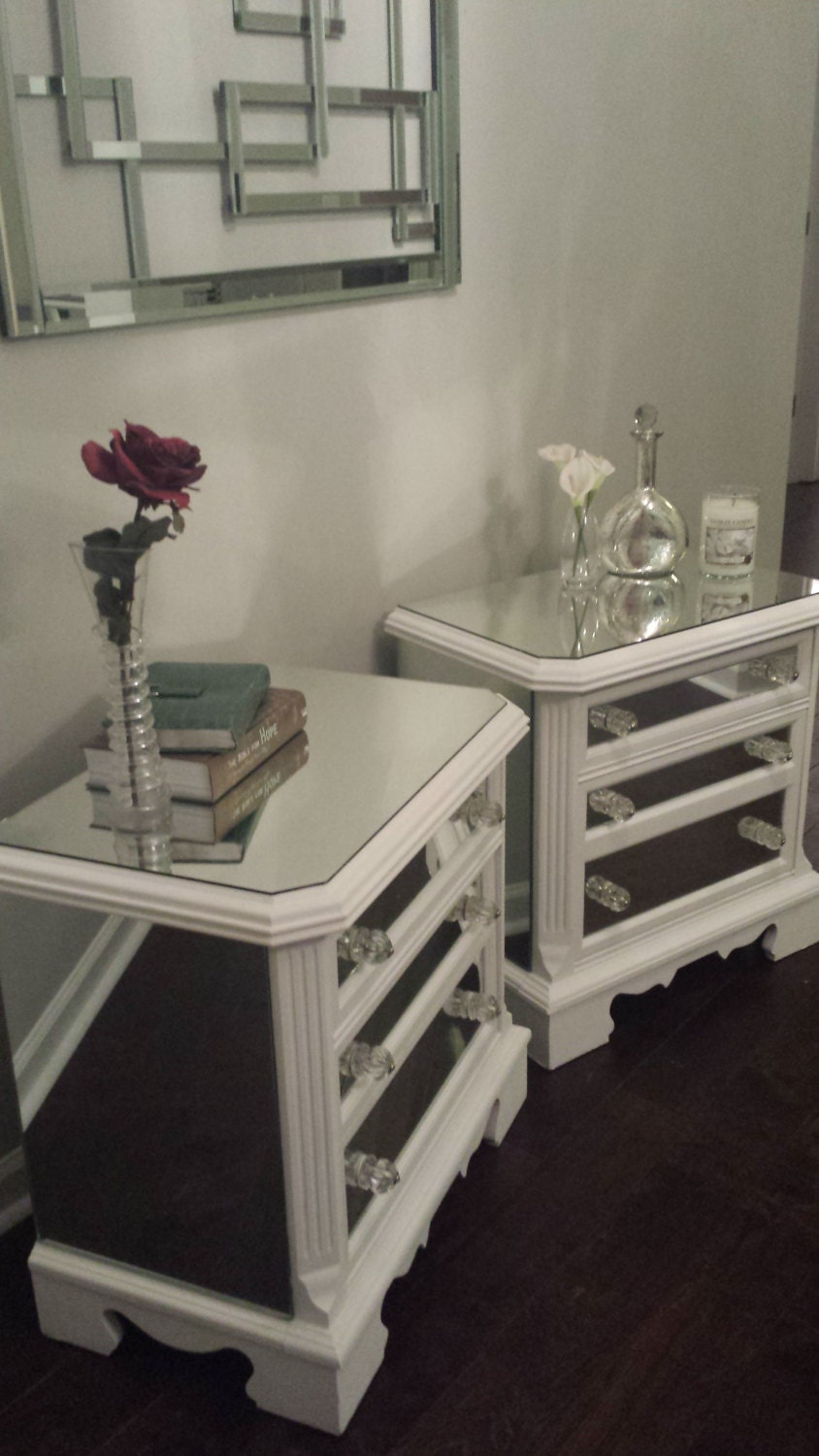 dresser and nightstand set mirrored nightstand set white with trim by mirroredjewels 15200