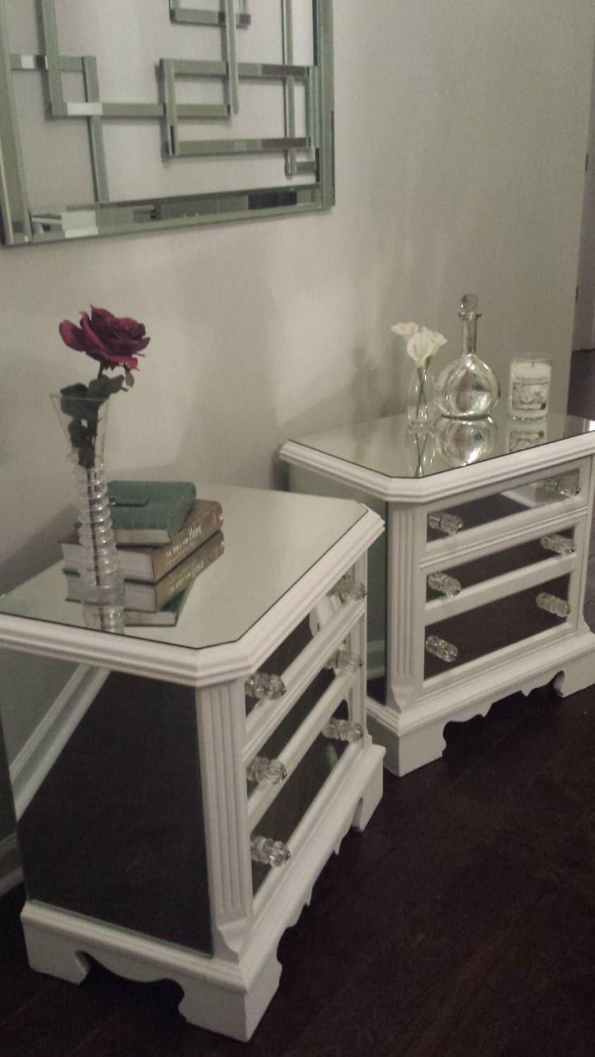 These 6 Pieces Of Colorful Furniture Are Absolute Must Haves: Mirrored Nightstand Set White With Trim By MirroredJewels